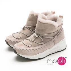 mo.oh 羊皮羊毛厚底短筒綁帶休閒雪靴-灰色