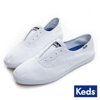 Keds 品牌經典系列之水洗休閒便鞋-白色