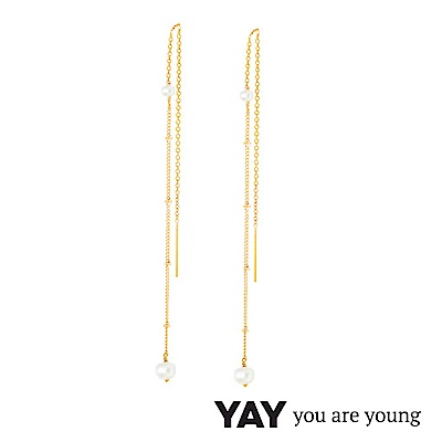 YAY You Are Young 法國品牌 Stella 珍珠耳環 不對稱拉線設計 金色