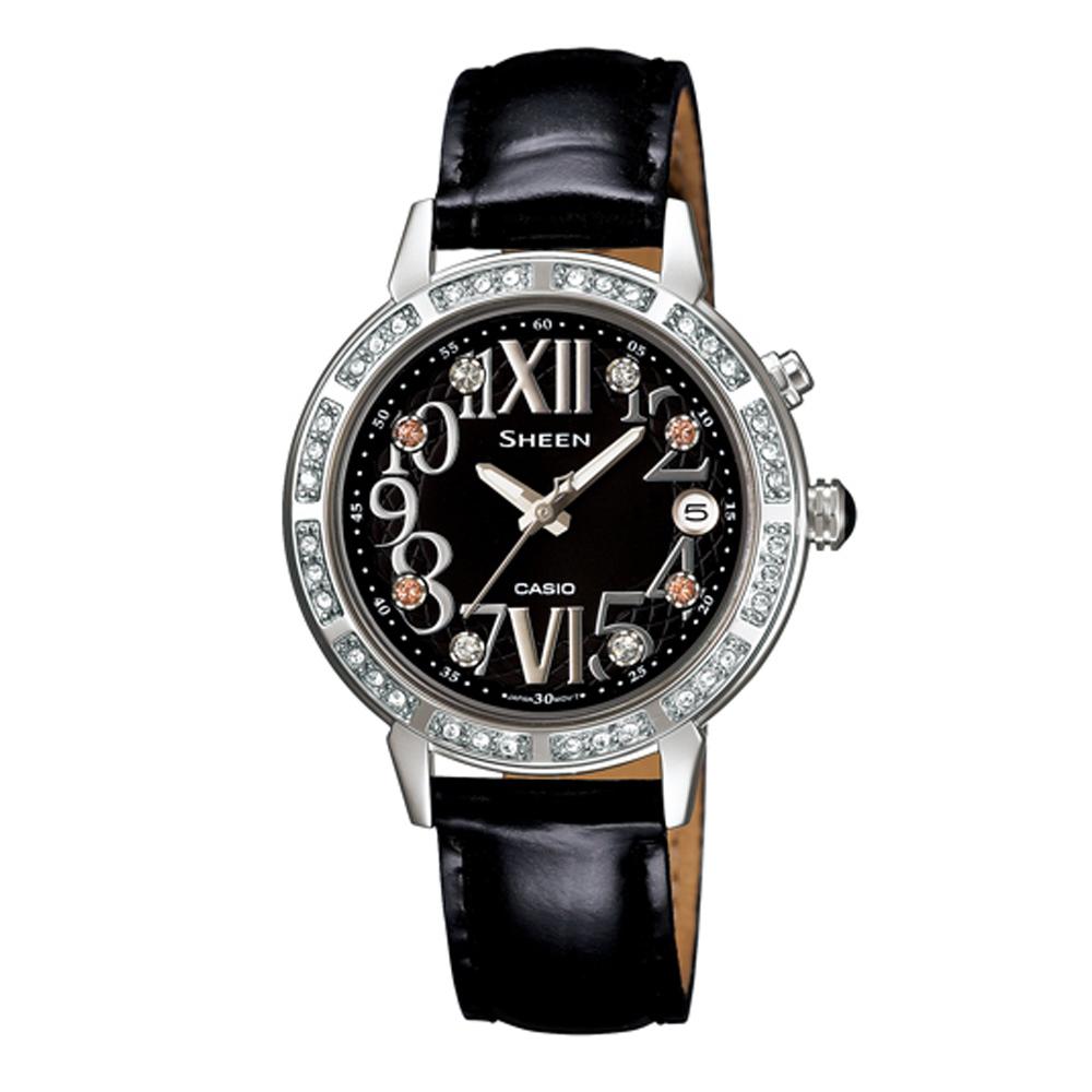 SHEEN 璀璨華麗繽好心情萊茵石腕錶(SHE-4031L-1A)-黑/32mm