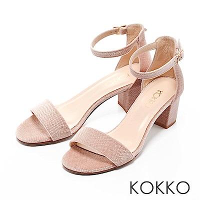 KOKKO-一字帶繫踝天鵝絨粗跟涼鞋-千禧粉