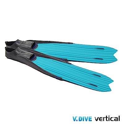 V.DIVE 威帶夫 LONG FIN 潛水長蛙鞋套-F998TF 孔雀藍