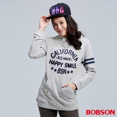 BOBSON-女款英文字母刺繡長版帽T