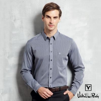 Valentino Rudy范倫鐵諾.路迪-【修身版】長袖襯衫-深藍直條-暗釘釦