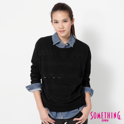 SOMETHING-隱約條紋長袖線衫-女-黑色