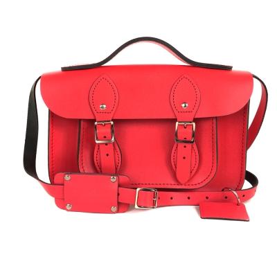 The Leather Satchel 英國手工牛皮劍橋包 肩背手提包 粉彩紅 11吋