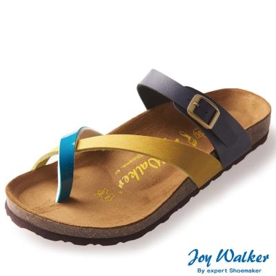 Joy Walker 素面交叉帶夾腳涼鞋* 黃綠藍