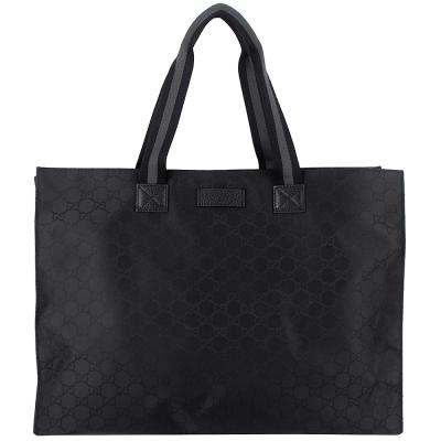 GUCCI 黑色緹花帆布中性織帶大型托特包