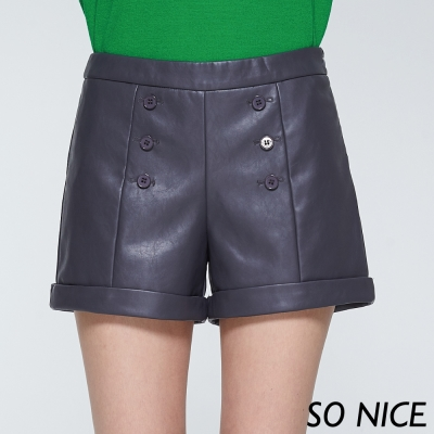 SO NICE率性時尚排釦皮短褲