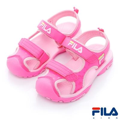 FILA-KIDS中童護趾運動涼鞋-桃粉S432R