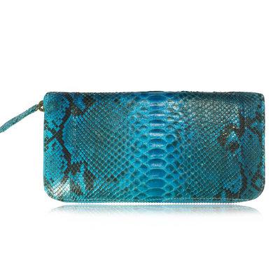 ACUBY 限量單品手工蛇皮大容量長夾/彩漾藍