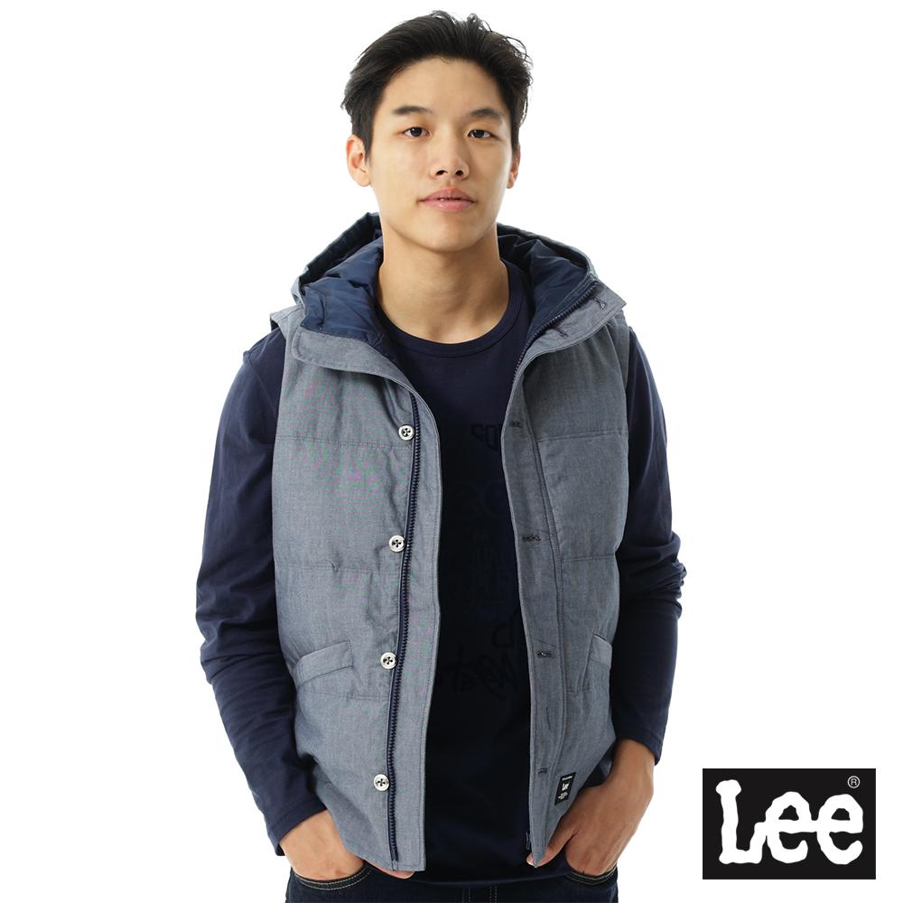 Lee 羽絨無袖外套 連帽 -男款-藍