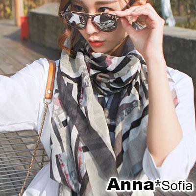 AnnaSofia 藝術繪塊彩調 拷克邊韓國棉圍巾披肩(深灰邊)