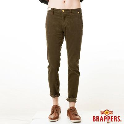 BRAPPERS 男款 新美腳Royal系列-男用中低腰彈性條絨直統褲-墨綠