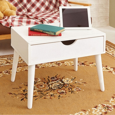 澄境 日系低甲醛皮革單抽邊桌茶几邊桌(60x40x46cm)-DIY