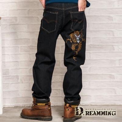 Dreamming 個性金龍刺繡伸縮中直筒牛仔褲