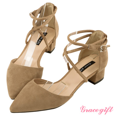 Grace gift-交叉繞踝優雅跟鞋 杏