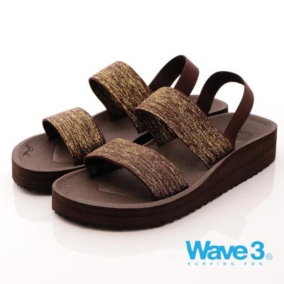 【WAVE3女款】台灣製金蔥厚底涼鞋-咖(17206302)