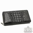 2R 珍稀鱷魚皮 限量訂製拉鍊護照長夾 奢華黑