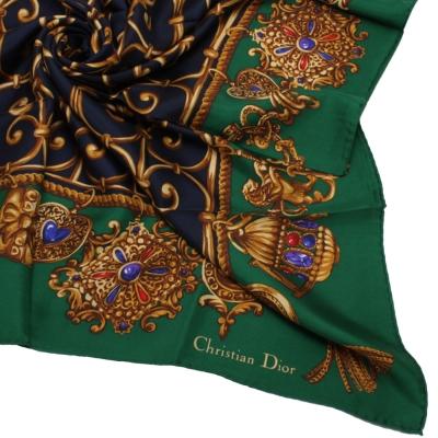 Christian Dior 皇家金飾圖紋大領巾-綠色