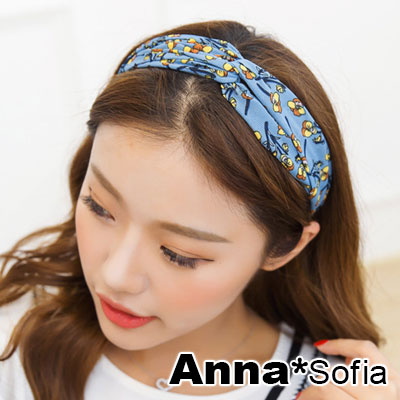 AnnaSofia 落花桔梅交叉結 彈性寬髮帶(藍系)