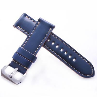 TED SU 太和錶帶 地中海Panerai 沛納海代用帶藍綠馬皮米色線-24*24mm