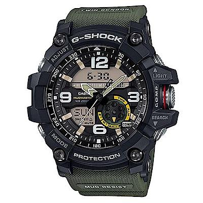 G-SHOCK 全方位防塵泥雙傳感器休閒運動錶(GG-1000-1A3)帆布綠/55.3m