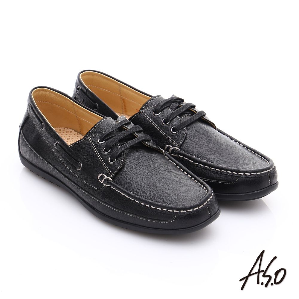 A.S.O 輕量抗震 真皮經典綁帶奈米休閒鞋 黑色