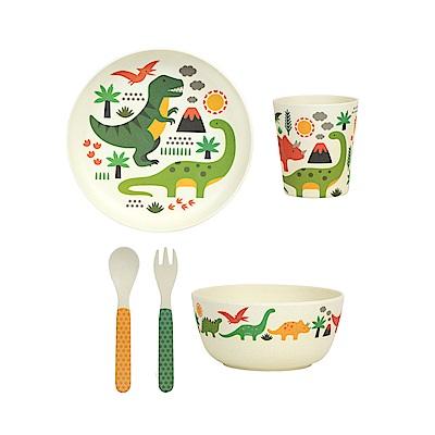英國Wild&Wolf Petit Collage恐龍兒童餐具禮盒組5入