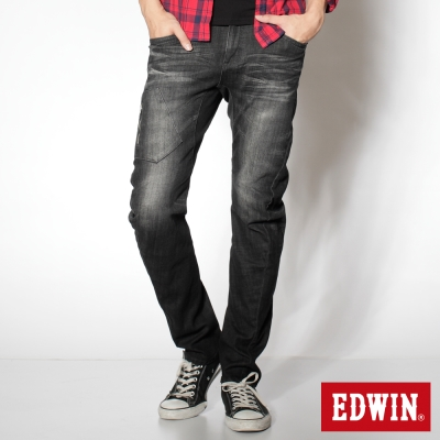 EDWIN 窄直筒 E-F立體壓折牛仔褲-男-中灰