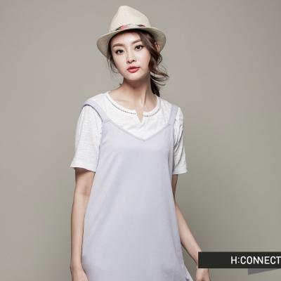 H:CONNECT 韓國品牌 女裝 - 微V領休閒洋裝 - 紫(快)