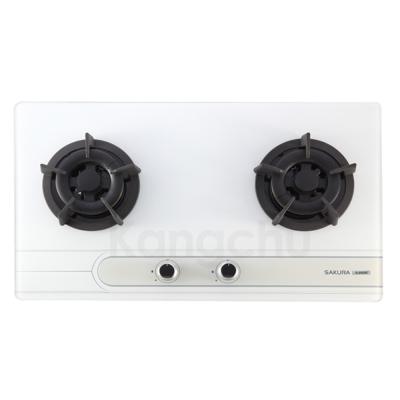 櫻花牌 G-2522G 易清強化玻璃檯面式二口瓦斯爐