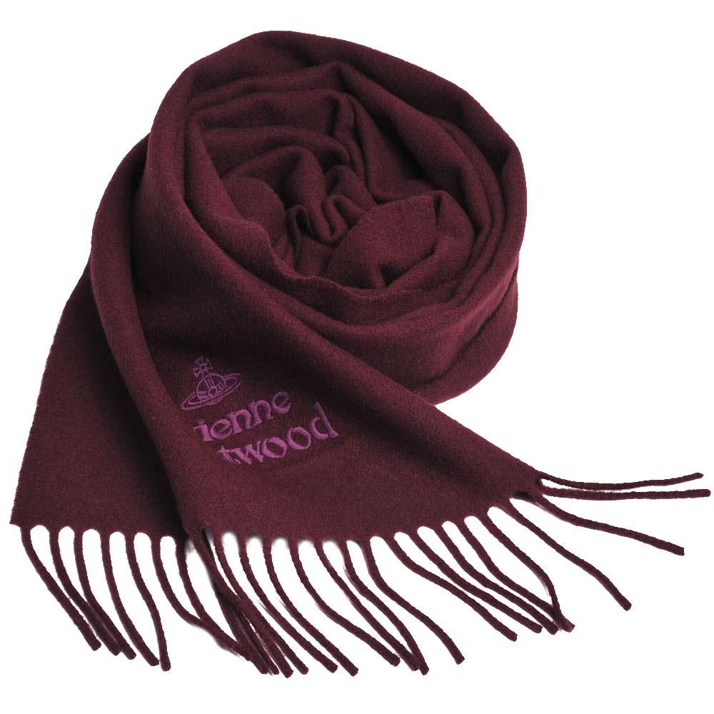 Vivienne Westwood 長版刺繡行星LOGO羊毛圍巾(紅酒紅) @ Y!購物