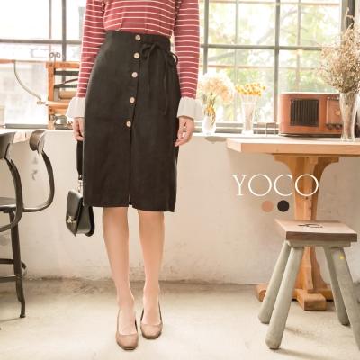 東京著衣-yoco 優雅美人質感綁帶排釦A字裙-S.M.L(共二色)