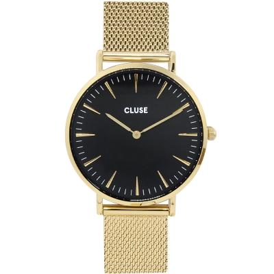 CLUSE荷蘭精品手錶 MESH系列 黑錶盤金色金屬錶帶/38mm