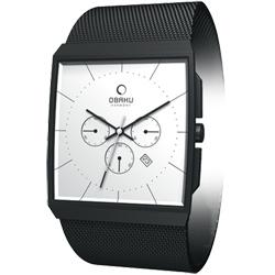 OBAKU 沉靜簡約三眼四方米蘭計時腕錶-銀/黑框/37mm