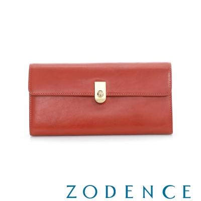 ZODENCE 義大利質鞣革系列LOGO金屬扣設計長夾 橘紅