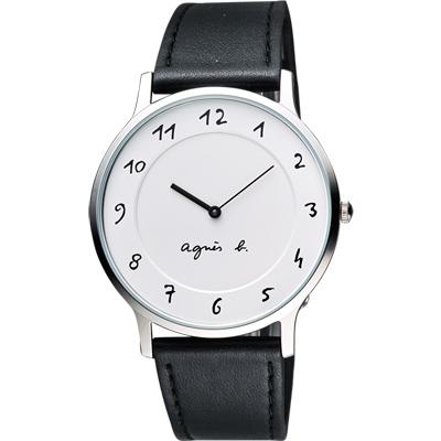 agnes b. 法國時尚藝術腕錶-白/黑/39mm