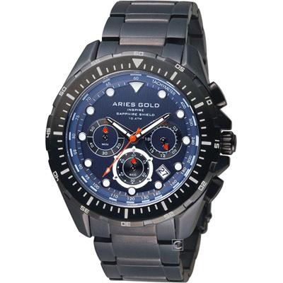 Aries Gold 雅力士 拓荒者系列冒險航道計時腕錶-藍x鍍黑/45mm