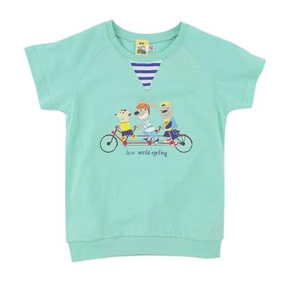 愛的世界 MYBABY 純棉圓領快樂的朋友短袖T恤/8~12歲