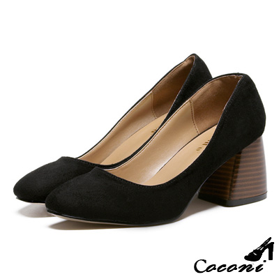 CoConi-粗跟鞋-方頭淺口-黑