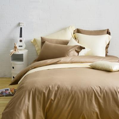 Cozy inn 簡單純色-咖啡 加大四件組 200織精梳棉薄被套床包組