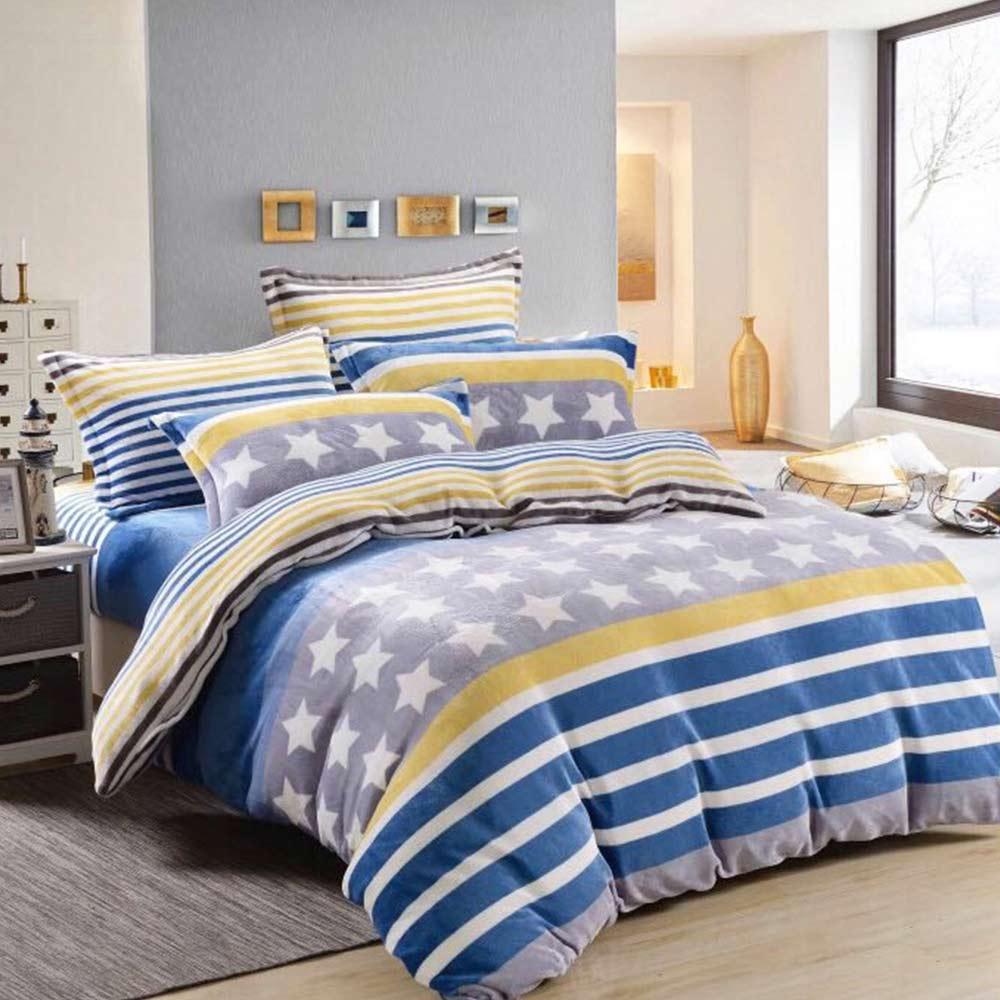 Ania Casa 超保暖法蘭絨-雙人床包被套四件組-星悅藍