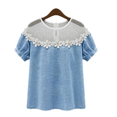 中大尺碼-前胸蕾絲花朵透膚網單寧藍棉麻上衣XL-4L-Ballet-Dolly