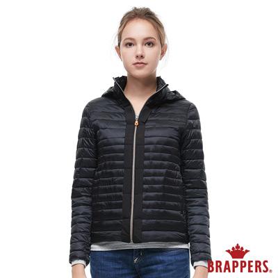 BRAPPERS 女款 短版仿絨棉可拆帽外套-黑