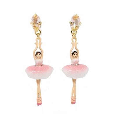 Les Nereides 優雅芭蕾舞女孩系列 芭蕾舞女粉鑽耳環針式 漸層粉色