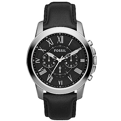 FOSSIL Grant經典復刻計時真皮手錶(FS4812IE)-黑X銀框/44mm