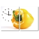 24mama掛畫-二聯直幅有機蔬菜餐廳飯店日本機芯時鐘無框畫掛畫-甜椒-30x40cm