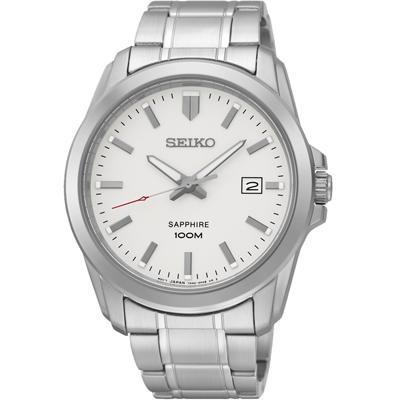 SEIKO 經典時尚 藍寶石水晶日期腕錶(SGEH45P1)-銀/41mm