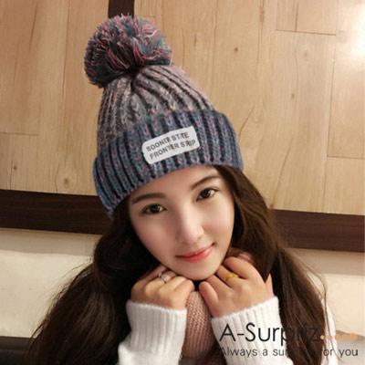 A-Surpriz-韓系混色徽章毛線帽-粉灰